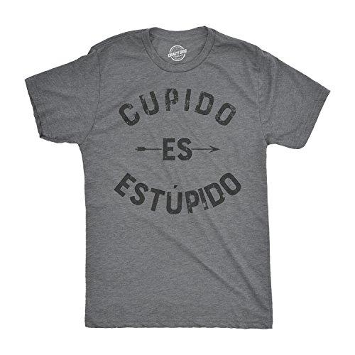 Crazy Dog Tshirts Mens Cupido ES Estupido Tshirt Funny Spanish Valentines Day Tee