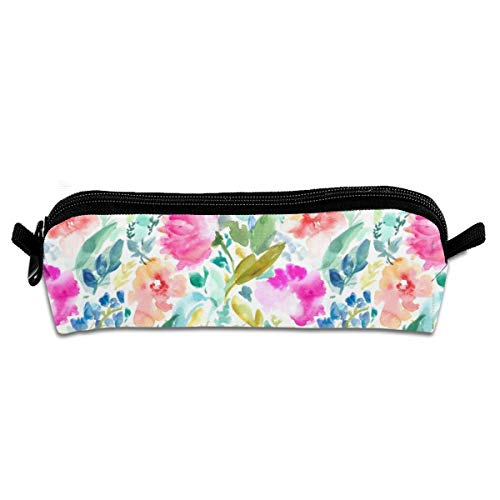 Nabby Tropical Watercolour Flowers Students Canvas Pencil Case Pen Pouch Pouch Stationary Case Cosmetic Bag 21 X 5.5 X 5 cm