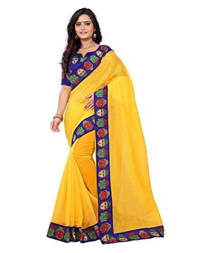 e-VASTRAM Womens Chanderi with Kalamkari Blouse and Border ,With Unstitched blouse (BUDDHAY_Yellow)