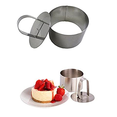 ZHOUBA Stainless Steel Cake Cutter Bakeware Mini Fondant Mousse Mold Kitchen DIY Tool - Round