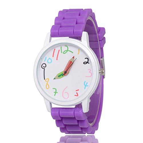 Aubess Kinder-Armbanduhr, wasserdicht, süßes Cartoon-Silikon-Armbanduhr für Mädchen und Jungen, Kinder-Armbanduhr, violett