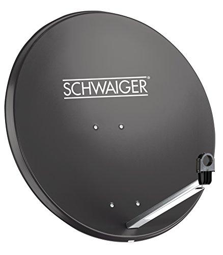 SCHWAIGER -166- Satellitenschüssel, Sat Antenne mit LNB Tragarm und Masthalterung, Sat-Schüssel aus Stahl, 75 x 85 cm