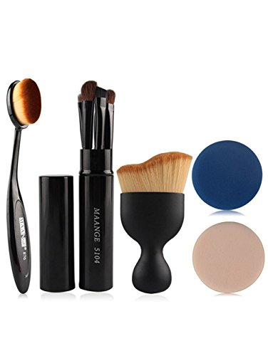 NaiCasy 5 Stück Augen Make-up Pinsel Kit + Foundation Pinsel + Gebogene Blush Pinsel + Air Puffs Schwarz