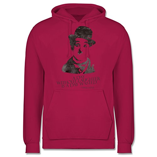 Vintage - Charlie Chaplin - a day without laughter is a day wasted - Männer Premium Kapuzenpullover / Hoodie Fuchsia
