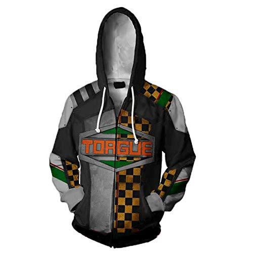 Männer 3D Gedruckte Hoodies Borderlands Pullover Freizeit Sweatshirt Halloween Cosplay Kostüm mit Tasche,Schwarz,M