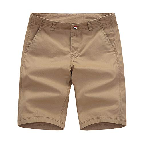 INCERUN Herren Sommer Bermuda Shorts Slim Fit Kurze Freizeithose Stretch Sporthose Khaki M - Stretch-shorts Khaki