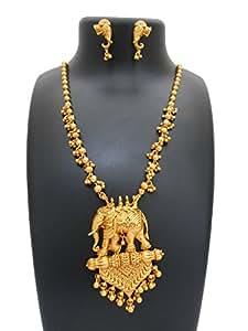 My Design Bahubali Style Gold Matt Finished Long Necklace Set