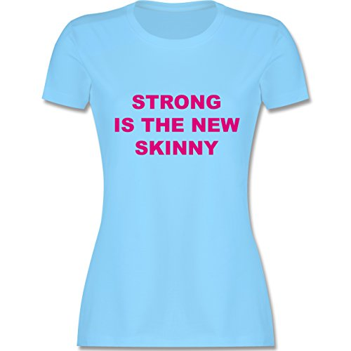 CrossFit Workout Strong is the new skinny tailliertes Premium TShirt mit  Rundhalsausschnitt für Damen Hellblau