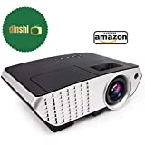 Dinshi Pro 2200 Lumens Multimedia LED Projector with HDMI/Video/VGA Slot (Black)