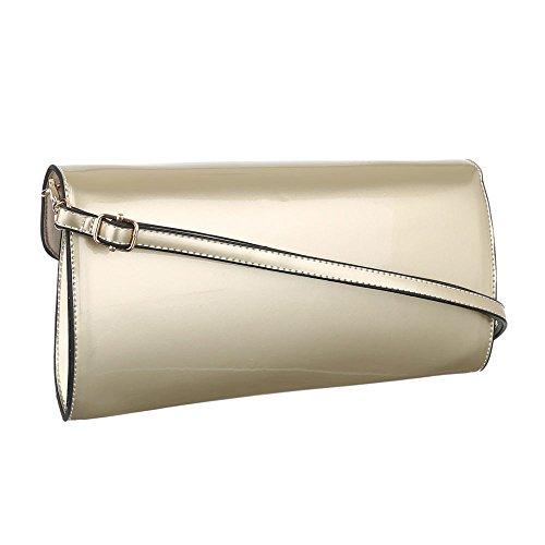 Damen Tasche, Clutch Tasche, Mittelgroße Abendtasche, Kunstleder, TA-2060-163 Gold