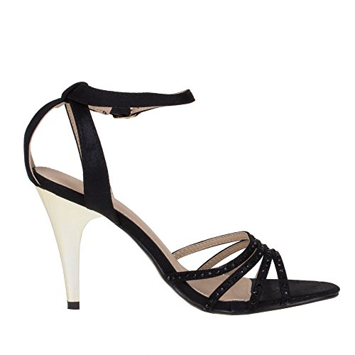 Sandaletten Damen 9422 Schwarz Schuhe gl qqtRB0w