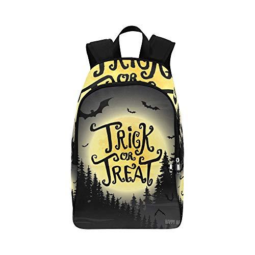 Trick Treat Happy Halloween Vektor-Illustration Casual Daypack Reisetasche College School Rucksack für Herren und Frauen (Niedlich Mädchen Schule Halloween-kostüme)