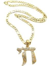 Fabuleux collier or à pendentif du symbôle de Chai, orné de pierres de Strass, chaîne Figaro l.5 mm L.61 cm