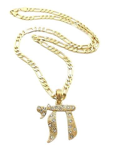 Fabuleux collier or à pendentif du symbôle de Chai, orné