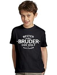 Bester großer Bruder der Welt : Geschenk-Set Kinder T-Shirt plus Urkunde : Geschenkidee als Weihnachtsgeschenk Geburtstagsgeschenk Jungen Farbe: schwarz