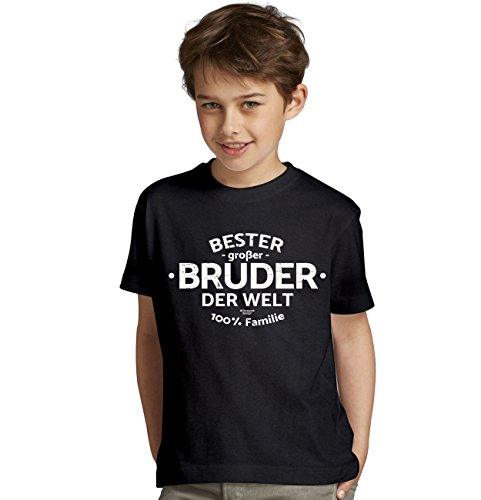 bequemes T-Shirt Jungen Knaben Motiv Bester großer Bruder der Welt Geschenk-Idee, Weihnachten kurzarm Outfit, Kostüm Farbe: schwarz Gr: 152/164 (Heiligen Kostüm Ideen Für Kinder)