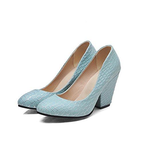 AllhqFashion Damen Blend-Materialien Ziehen Auf Rund Zehe Stiletto Rein Pumps Schuhe Blau vUhu6F