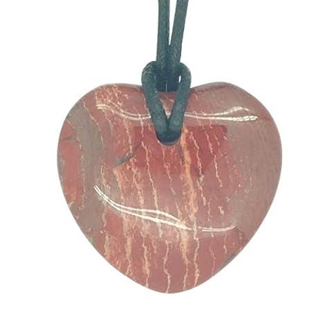 Lucky Libra Birthstone Heart Pendant Zodiac Astrology Gemstone Red Jasper