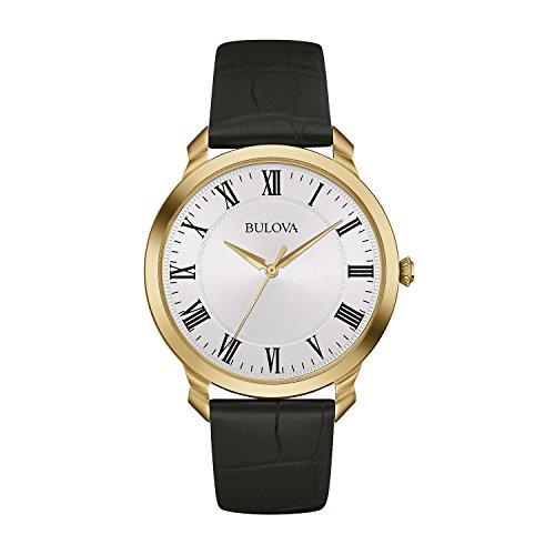Bulova Classic 97A123 - Montre-bracelet de créateur pour homme - élégante - bracelet en cuir - cadran blanc/doré