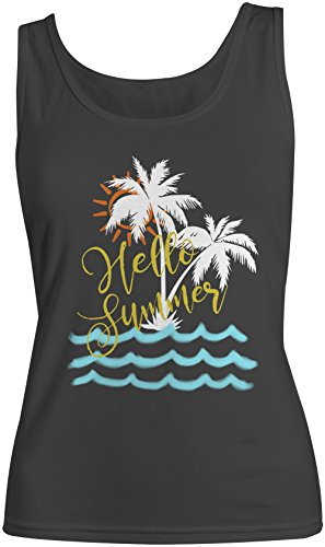 Hello Summer Island Palms Vacation Holiday Femme Tank Top Debardeur Noir