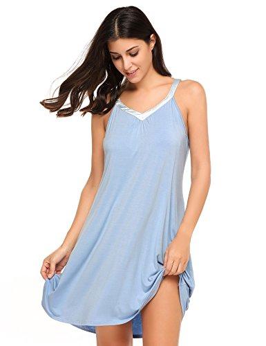 ADOME Damen Nachthemd Sleepwear Unterkleid Casual V-Ausschnitt Ärmellos Nachtkleid Negligee Träger Gemütlich Nachtwäsche (S-XXL) Blau095