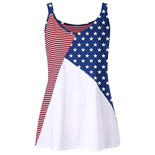 AiBarle Fashion Women American Flag Print Striped Stars O-Neck Tank Tops Shirt Blouse (Multicolor, XXXXL)