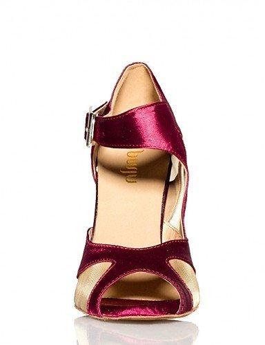 ShangYi Chaussures de danse ( Noir / Violet ) - Non Personnalisables - Talon Aiguille - Satin - Ventre / Ballet / Latine / Jazz / Moderne Black