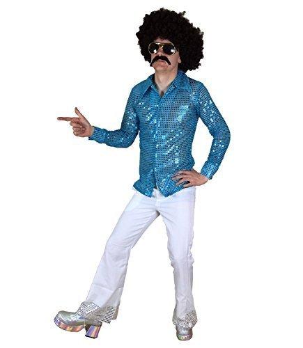 Männer Abendkleid Hemd & Fackeln Anzug Outfit für DISCO Nächte (Männer: X-Large, blaues Hemd und Weiß (Disco Outfit Männer)