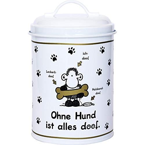 Sheepworld 45710 Metall-Dose Ohne Hund ist alles doof, 130 cl, Leckerli-Dose, schwarz-weiß -