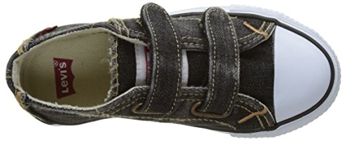 Levi's Original Red Tab Low Velcro, Baskets Basses Garçon Noir (Black Denim)