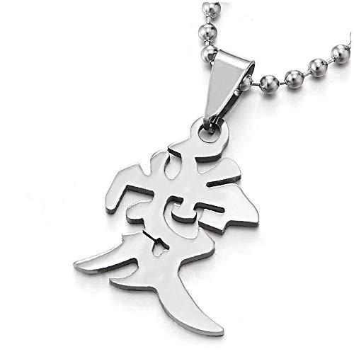 hinesische Zeichen der AI Liebe Nachricht Halskette Anhänger für Damen Herren, 60cm Stahl Kugelkette ()