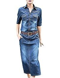 Bevalsa Femmes Denim Robe Femmes Manches Longues Jeans Denim Slim Jupe  Party Mini Robe Jeans Blouse 2b8f904f901