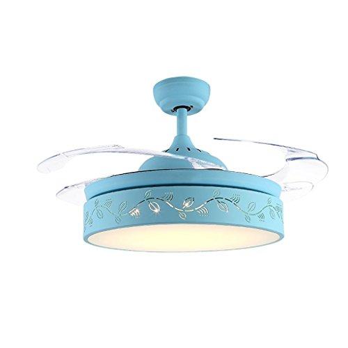 Macarons unsichtbare Deckenventilator Licht Esszimmer Schlafzimmer Wohnzimmer Home Decke einfach Ultra-quiet Remote Fan Light lassen Sie zu Hause ein wenig mehr Farbe 36/42 cm, 24/36 W, drei Farben, Wand-/Fernbedienung Xuan-Wert haben (Farbe: Fernbedienung, Größe: 91 cm (36 Zoll) - Gebläse Motor Weniger