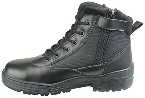 Black Leather Combat Mid Height Boots SIDE ZIP Cadet Army Patrol Security...