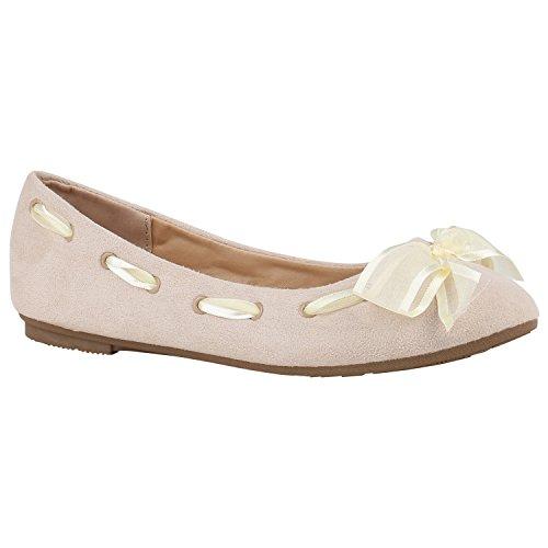 stiefelparadies Klassische Damen Schuhe Pailletten Ballerinas Schleifen Viele Farben 156130 Creme Schleifen 39 Flandell