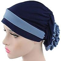 Toyonee Headwear Chemotherapie Perücken für Frauen Blume Turban Hut Muslim Soft und Warm Cotton Beanie Sleeping Hats Patienten Haarausfall Schal Wrap Hijab Cap Hot Drill Cap