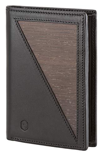 SEBASTIAN STURM Geldbörse »Paul« | Echtes Holz und Leder | Elegantes Herren-Portemonnaie (Schwarz/Räuchereiche)