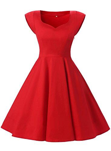 Dressystar Damenkleid Cape Vintage Kleid Mit Taschen Partykleid 50er Swing Schleife Knielang Retro Rot M (Rock N Roll Thema Partei Kostüm)