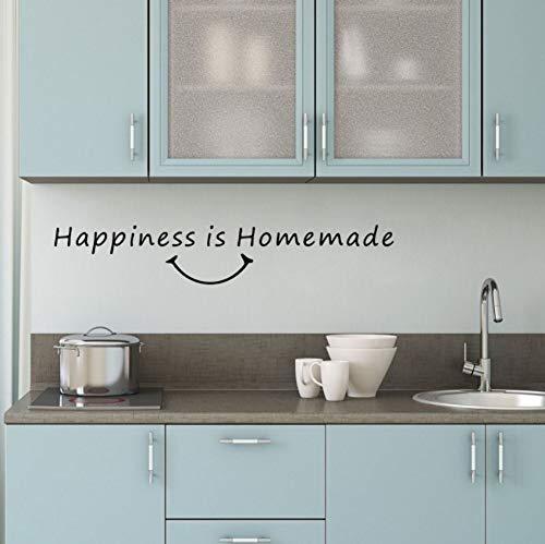 Dalxsh Glück Hausgemachte Küche Esszimmer VinylWandaufkleberKunst ZitatSchriftzugDekor10X58 Cm