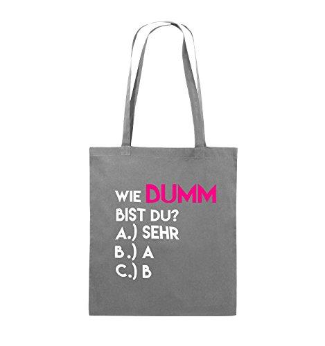 Comedy Bags - Wie dumm bist du? - Jutebeutel - lange Henkel - 38x42cm - Farbe: Schwarz / Weiss-Neongrün Dunkelgrau / Weiss-Pink