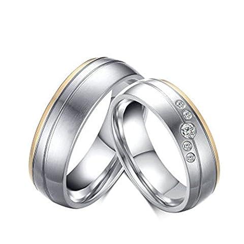 BeyDoDo Modeschmuck 1 PCS Edelstahl Ring Herren Hochglanzpoliert Matte Fertig Breite 6MM Verlobungsring Silberring größe 62 (19.7)
