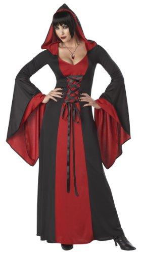 Unbekannt Aptafêtes-cs968925/S-Kleid mit Kapuze-Rot/Schwarz-Größe - Vampir Rot Kleid Kostüm
