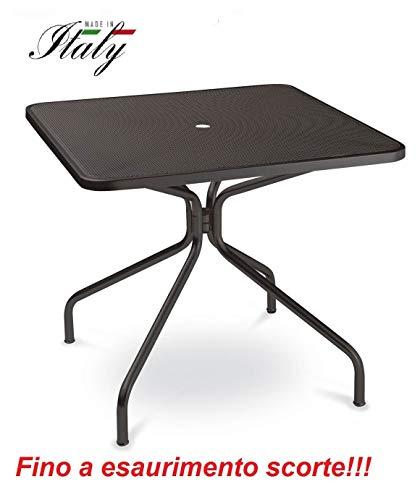Emu Table pour extérieur Changes 80 x 80 cm en Fer zingué et Verni à poussières - Couleur Fer Ancien Fantaisie 22 - Produit fabriqué en Italie