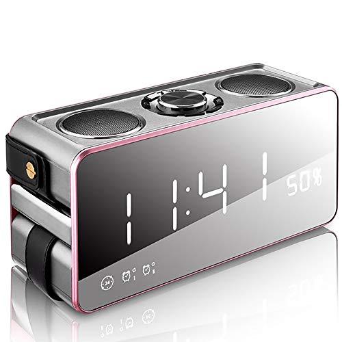 EGOFEI Magic Mirror kabelloser Bluetooth-Lautsprecher mit LED-Anzeige, Wecker, Radio - tragbarer Basslautsprecher für zu Hause und im Freien,Rosegold (Fm-radio-basslautsprecher)