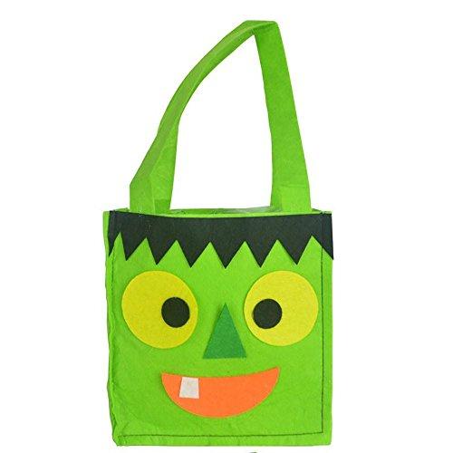 Transer® Halloween Süßigkeits-Beutel-Geschenk-Beutel Reizende Spinnen-Dekoration Wiederverwendbare Einkaufstasche Handtaschen-Größe: 16x16x7cm (Grün) (Shirt Schule Woven)