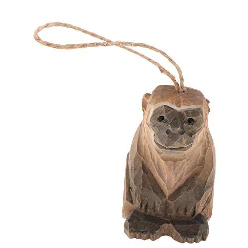 Fenteer Handgeschnitzte Hölzerne Hängende Tier Holzstücke für Kunst Handwerk DIY Dekoration Anzeigen - Mehrfarbig, AFFE (Handwerk Und Affen-kunst)