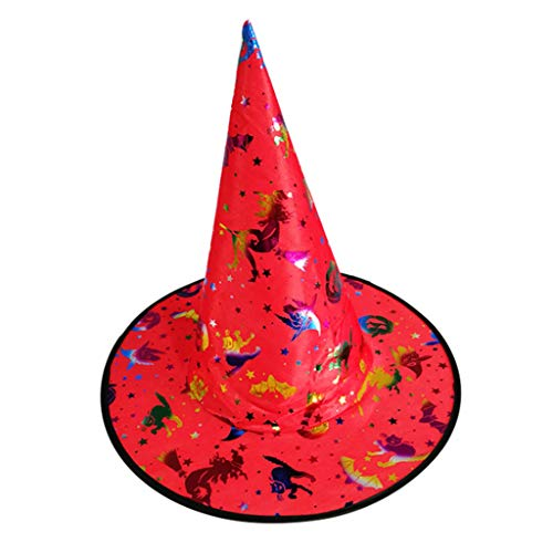 Kostüm Hut Folie - ruiruiNIE Mode Bunte Erwachsene Kinder Hexenzauberer Hut Folie Kürbis Muster Kostüm Halloween Party Maskerade Cosplay Kostüm-4#