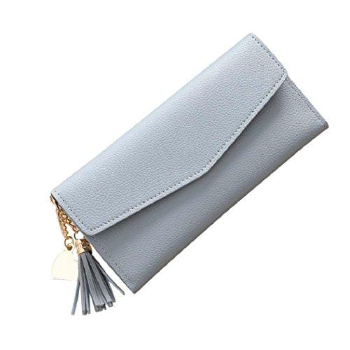 Rovinci Frauen einfache Handtasche lange Brieftasche Quaste Geldbörse Kartenhalter (Blau)