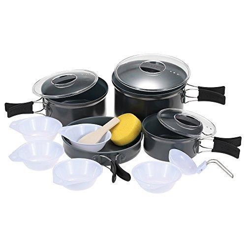 Docooler Camping Töpfe & Pfannen, 1 * Kleine Pot/1 * Medium Pot/1 * Big Pot/1 * Bratpfanne/3 * PP-Abdeckung/1 * Scoop/1 * Löffel/5 * Bowl/1 * Sponge