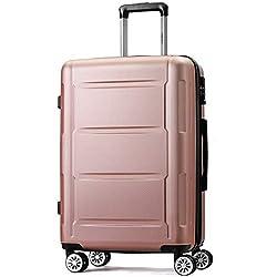Flieks Hartschale Trolley Koffer Reisekoffer mit Zahlenschloss Handgepäck mit 4 Rollen,M (Champagner, M)